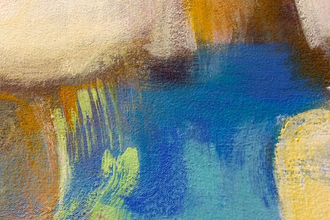 Part of a piece of art is seen. The work is by Lou Schellenberg, Mount Gretna, Pa., Landscape of Hope, 2015, acrylic on canvas.