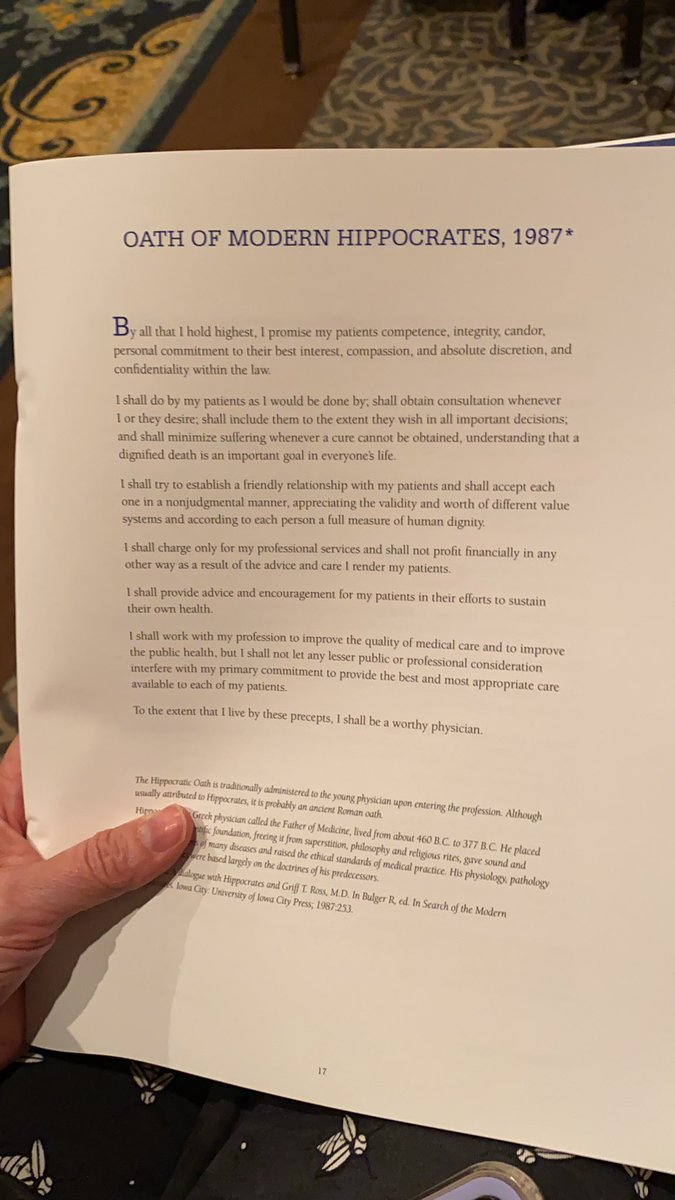 The Oath of Modern Hippocrates from 1987 is seen in a program from Penn State College of Medicine's 2021 commencement held May 15.