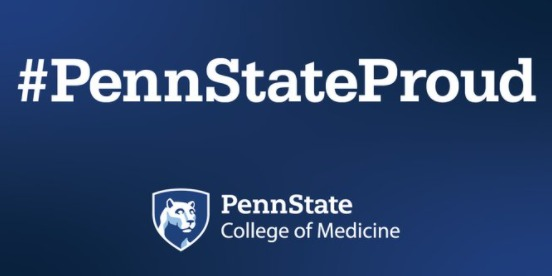 An image shows the #PennStateProud hashtag and logo of Penn State College of Medicine.
