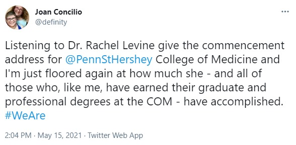 A screenshot of a tweet by Joan Concilio.