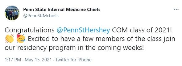 A screenshot of a tweet from Penn State Internal Medicine Chiefs.