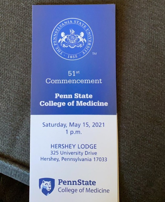 A poster from the 51st commencement of Penn State College of Medicine, May 15, 2021.