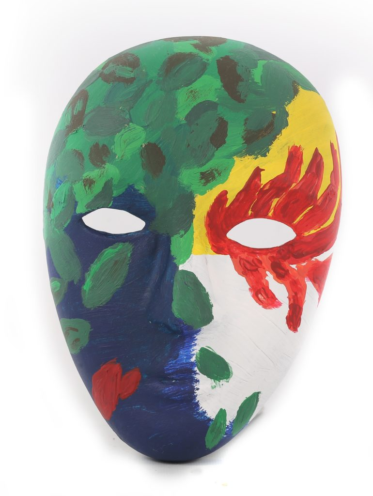 A multicolored painted mask