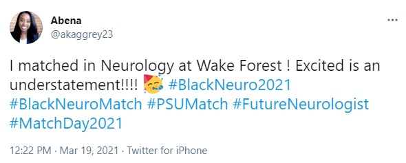 A screenshot of a tweet noting that a user named Abena matched in Neurology at Wake Forest.