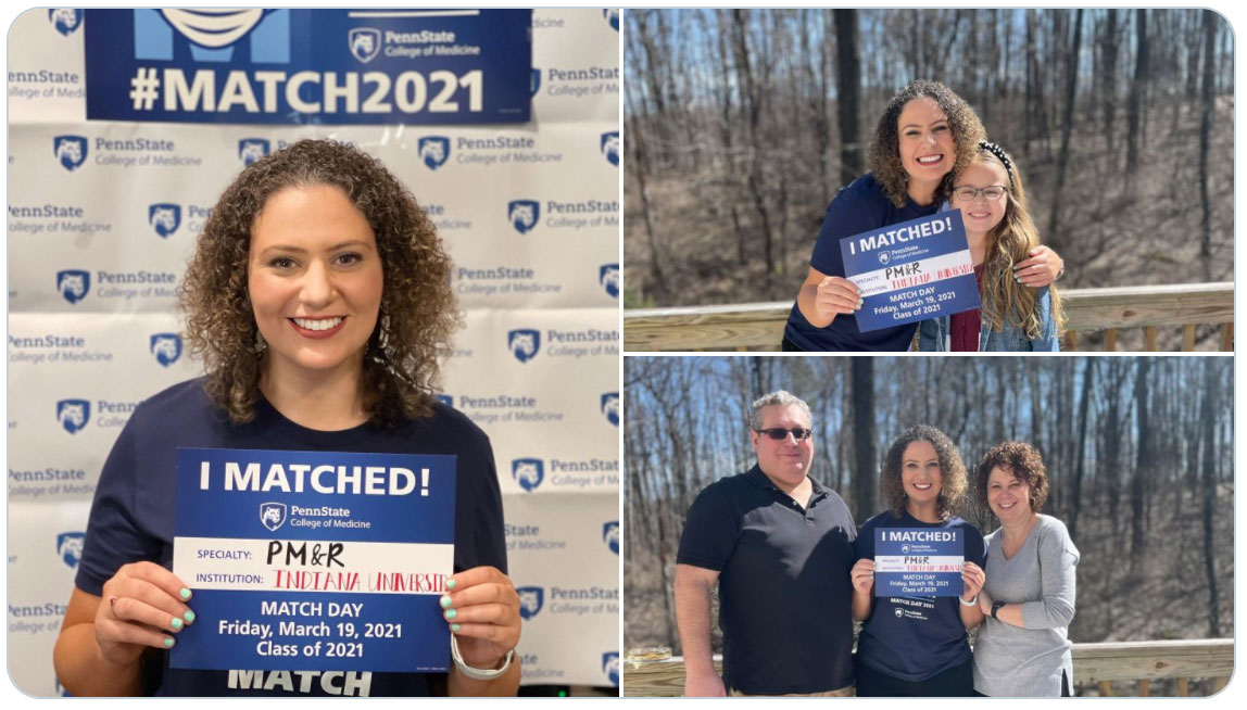 A collage of 3 photos shows a woman holding a sign that says I Matched! Penn State College of Medicine. Specialty: PM&R. Institution: Indiana University. In 1 photo she is with a young girl; in another she is with a man and a woman.