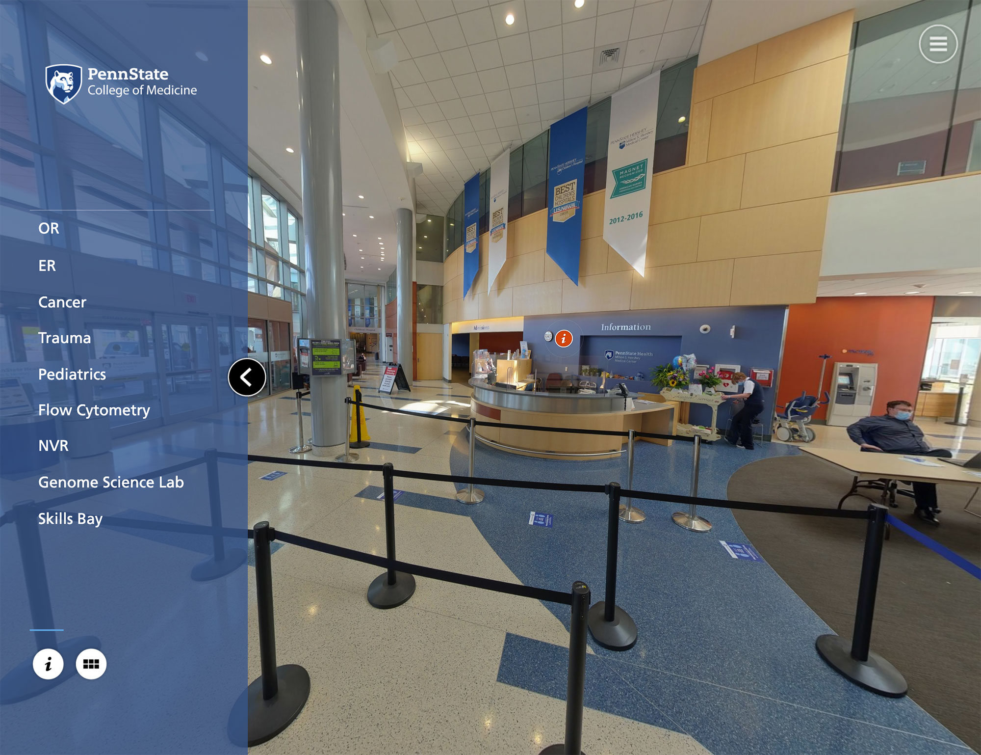 A screenshot shows the 2020 virtual tour of Penn State Health and Penn State College of Medicine.