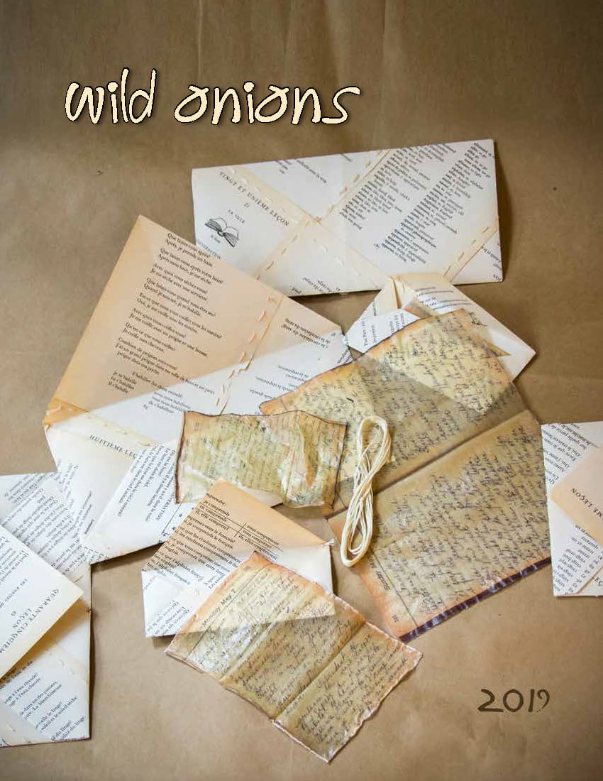 The cover of Wild Onions 2019 is a photo titled Nobody Can Remember My Great-Grandmother's Real Name by Mira Green. The year and the title also appear.