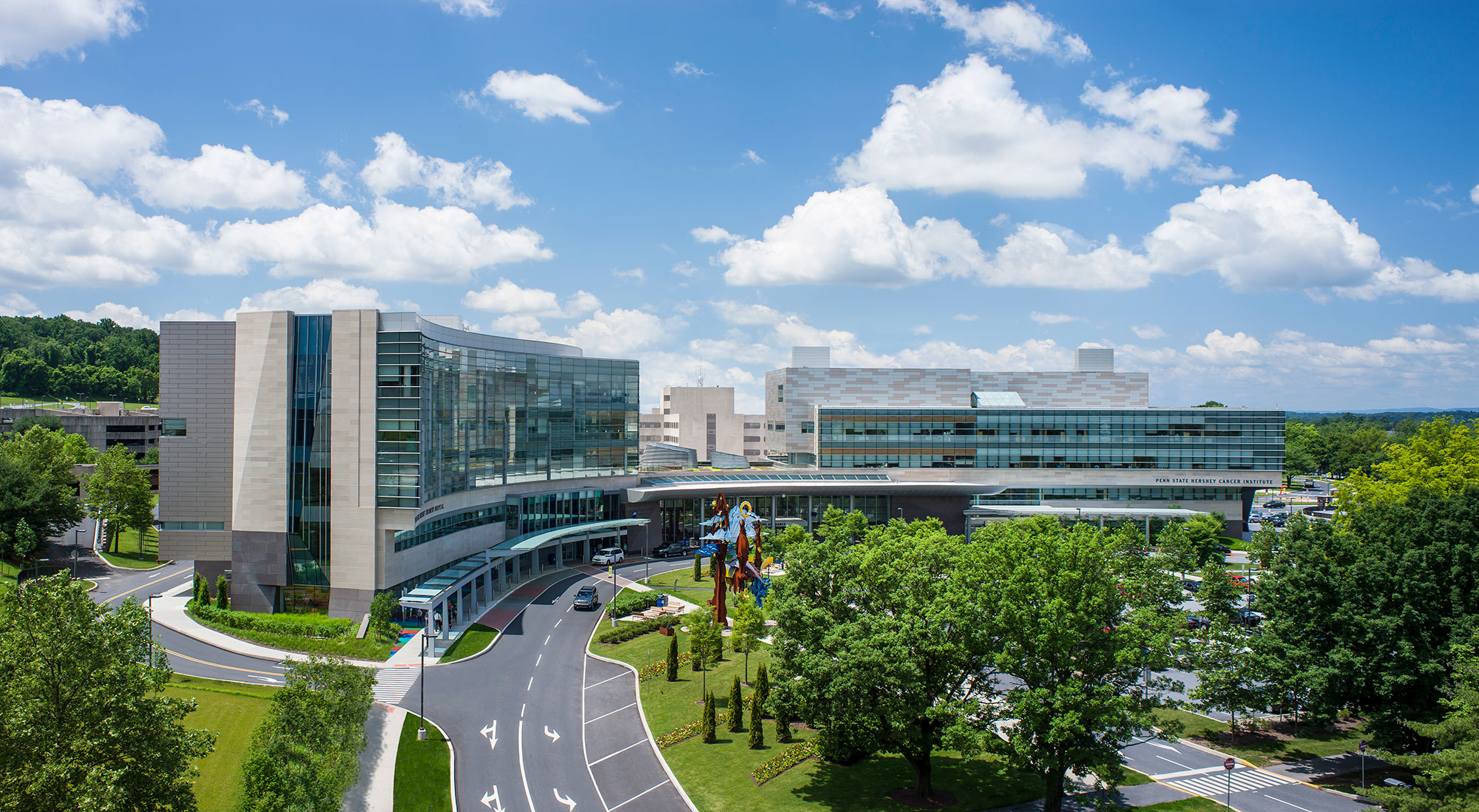An aerial view of Penn State Health and College of Medicine's campus in Hershey, Pa.